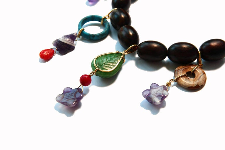 Ebony Charms Necklace Amethyst Coral Ebony Gold For Sale 2