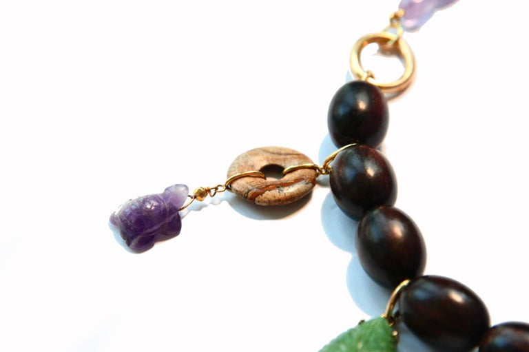 Ebony Charms Necklace Amethyst Coral Ebony Gold For Sale 3