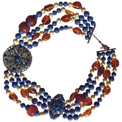 Lapis Gold Pearls Carnelian Amber Necklace Russian Night