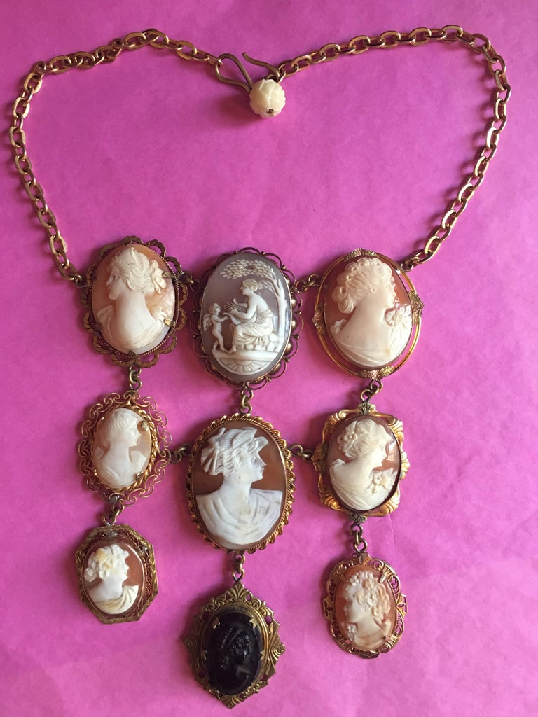 italian nine antique cameo pendant necklace for sale at