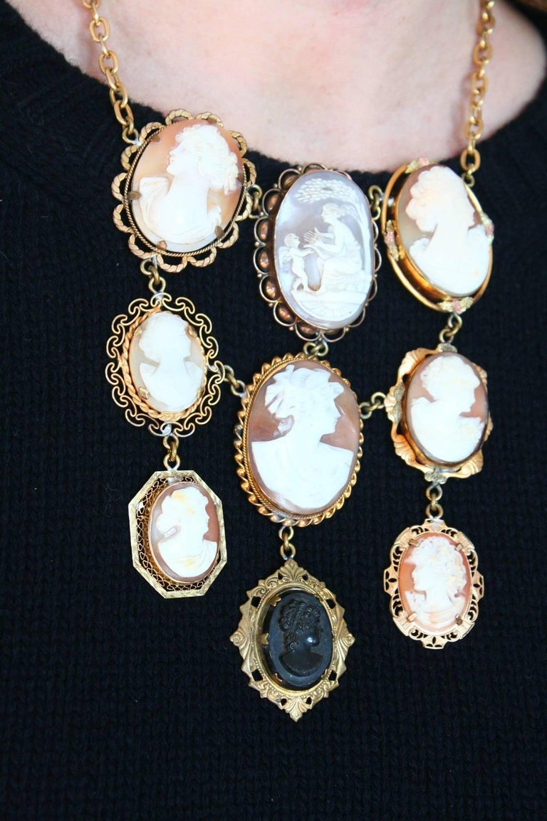 Italian nine antique cameo pendant necklace for sale at 1stdibs italian nine antique cameo pendant necklace for sale 4 aloadofball Image collections