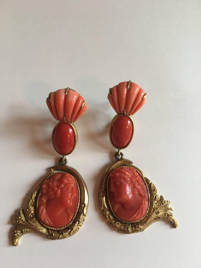 Antiques Cameo Earring Fine Carved In C Cabochon Red Italian Fans Sciacca