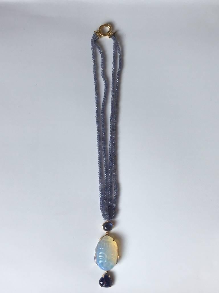 Opal Tanzanite Gold Blu  Buddha Necklace 6