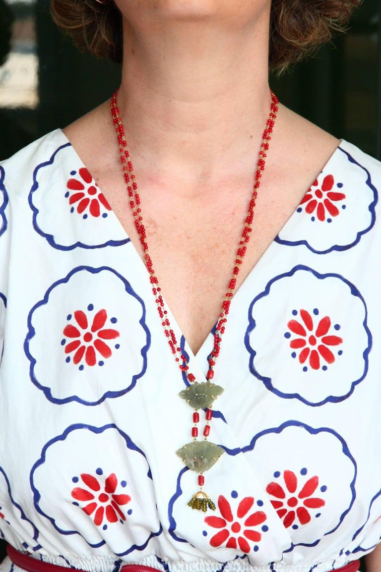 Coral Gold Jade Chinese Button Necklace For Sale 3