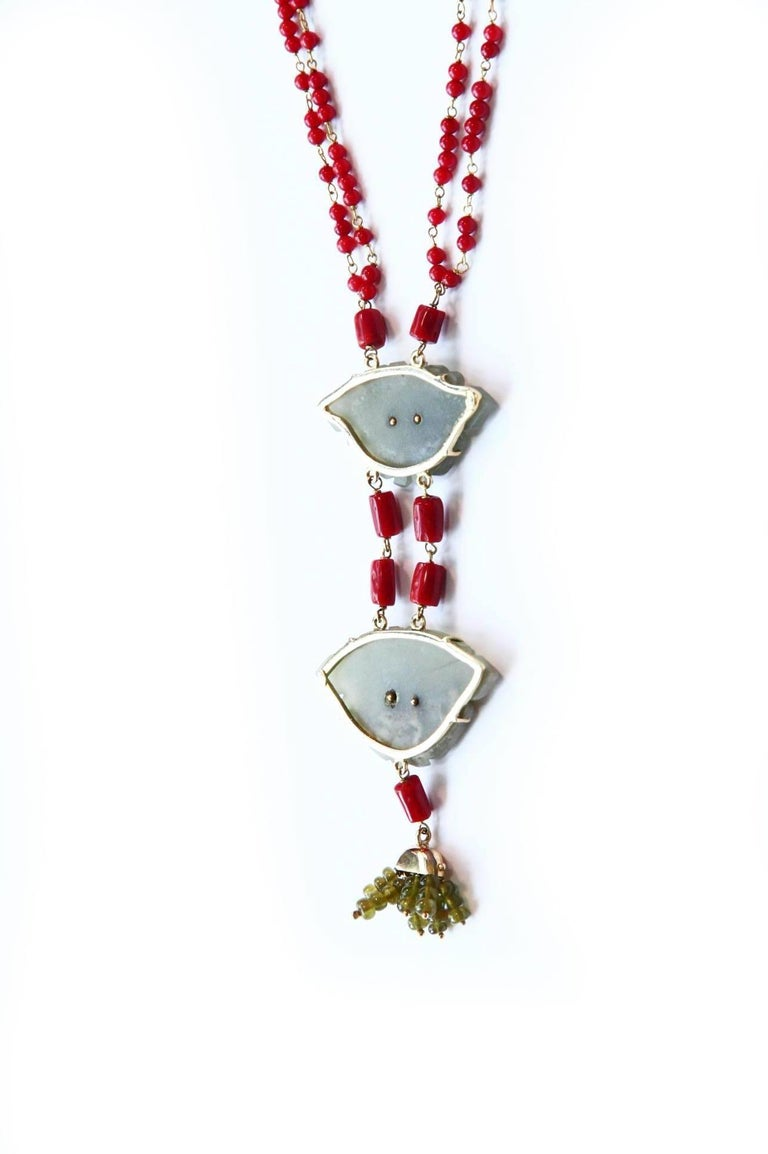 Art Nouveau Coral Gold Jade Chinese Button Necklace For Sale