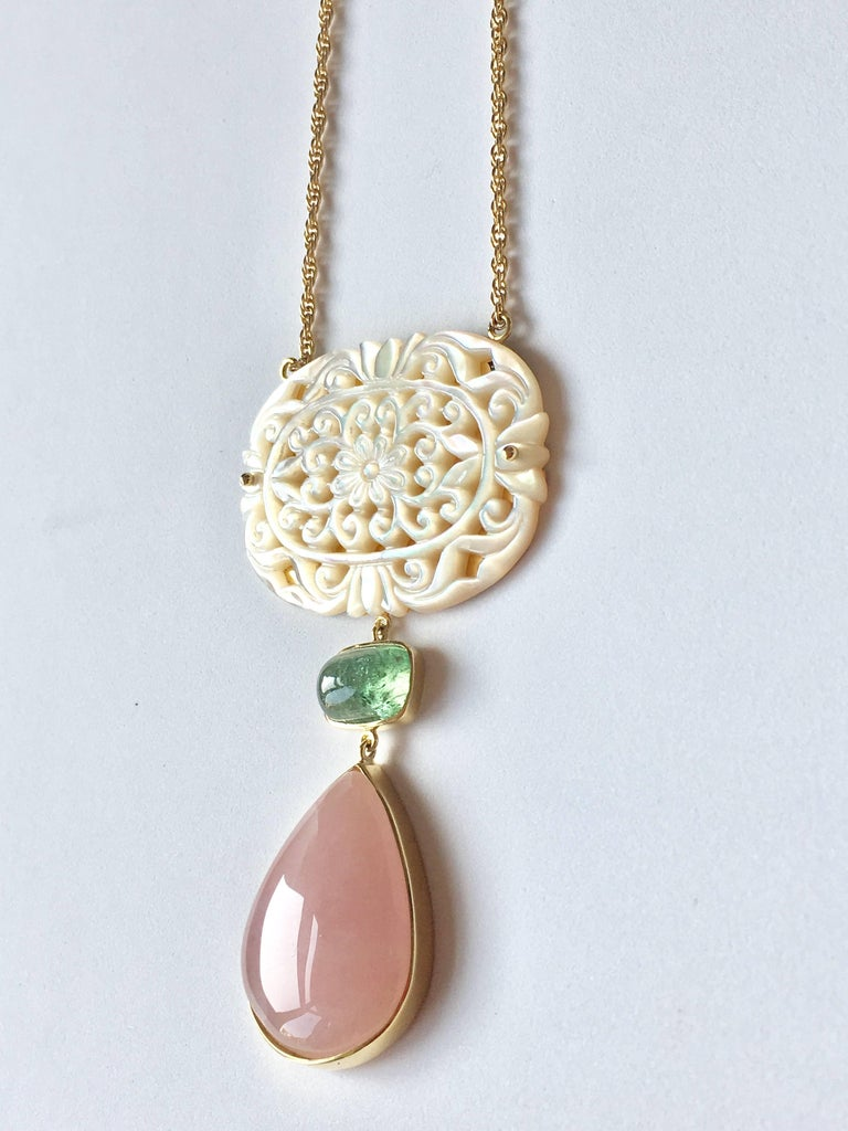 Art Deco Green Tourmaline Rose Quartz Drop Gold Mother-of-Pearl Cathedral Necklace For Sale