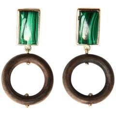 Ebony Gold Malachite Earrings