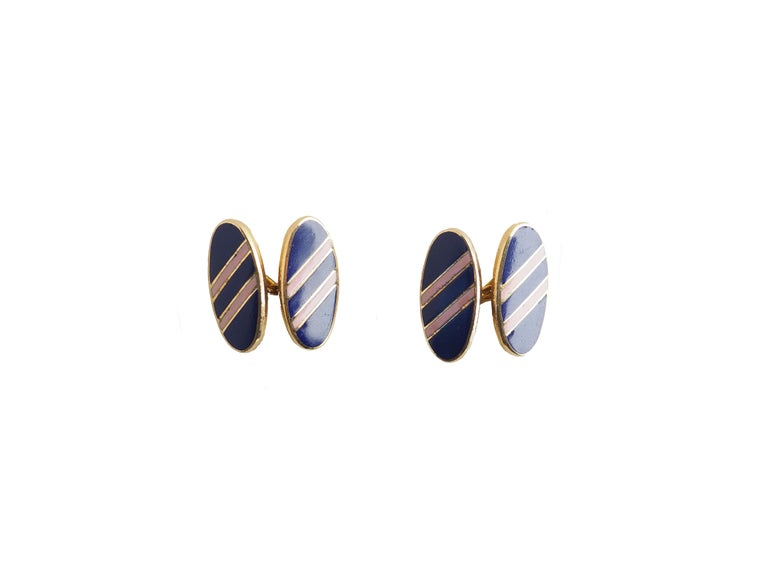 Enamel Blu Rose Stripes Gold Filled Cufflinks In New Condition For Sale In Milan, IT