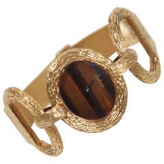 Bulova Lady's Yellow Gold Tiger's Eye Dial Bracelet Wristwatch
