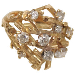 Hand Crafted Diamonds Gold Tree Branches of Diamonds Artisan Ring