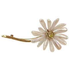 Pearl and Fancy Yellow Diamonds Gold Petal Daisy Brooch