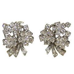 Diamonds Platinum Floral Motif Clip On Earrings