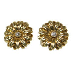 Diamond Gold Sunflower Earrings