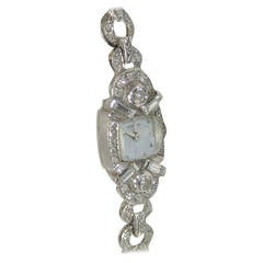 Hamilton 1940s Lady's Platinum and Diamond Bracelet Wristwatch