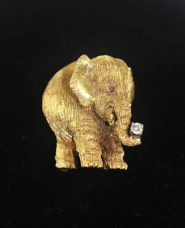 Gold Elephant Pendant Or Pin With Diamond Trunk And Ruby