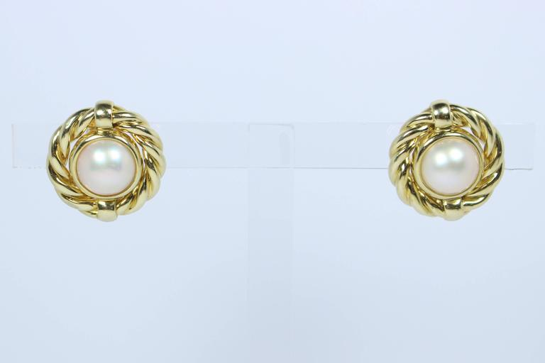 Men's Mabe Pearl Gold Earrings  For Sale