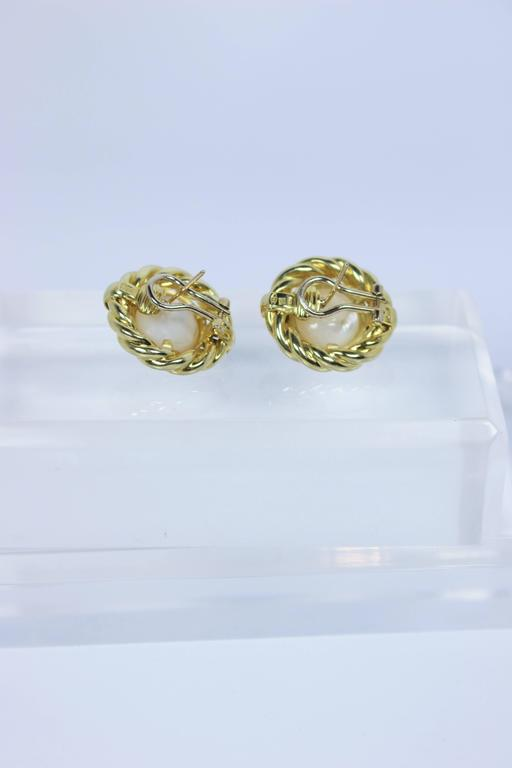 Mabe Pearl Gold Earrings  For Sale 4