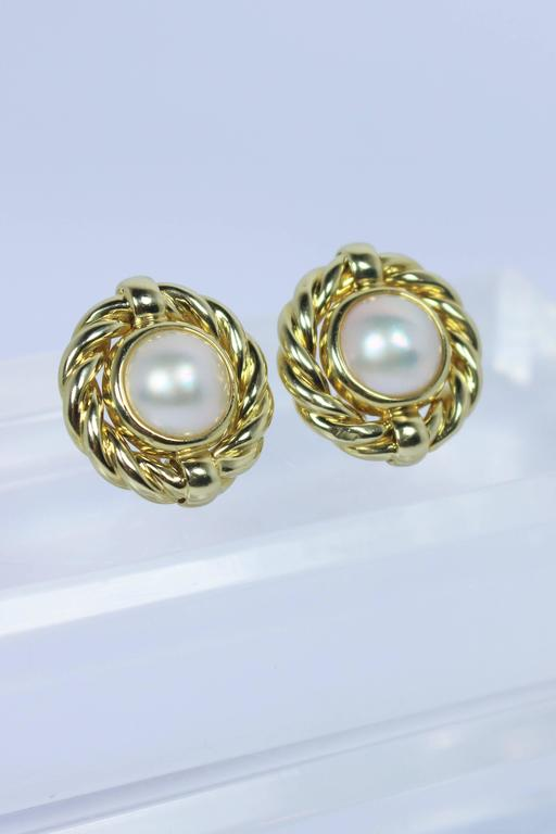 Mabe Pearl Gold Earrings  For Sale 1