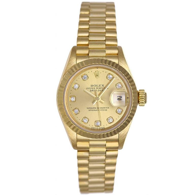 Rolex Ladies Yellow Gold Diamond President Automatic Wristwatch Model 69178 For Sale