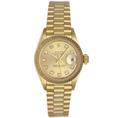 Rolex Ladies Yellow Gold Diamond President Automatic Wristwatch Model 69178