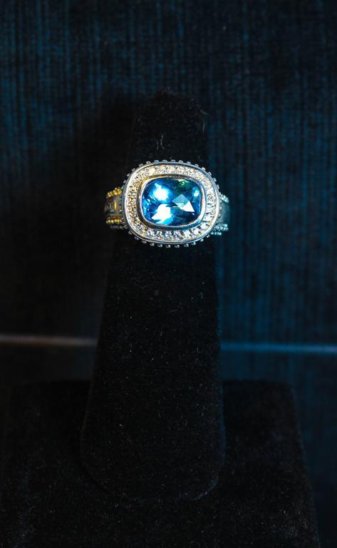 Men's  Topaz  White Gold Ring  For Sale