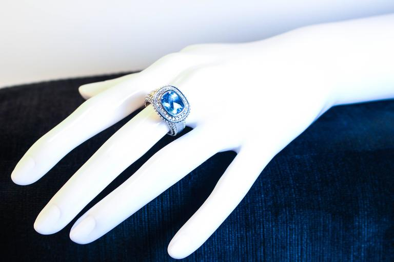 Round Cut  Topaz  White Gold Ring  For Sale