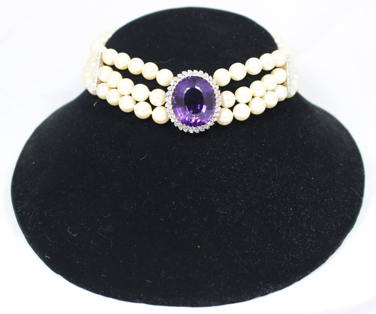 Amethyst Diamond Triple Strand Pearl Necklace 2