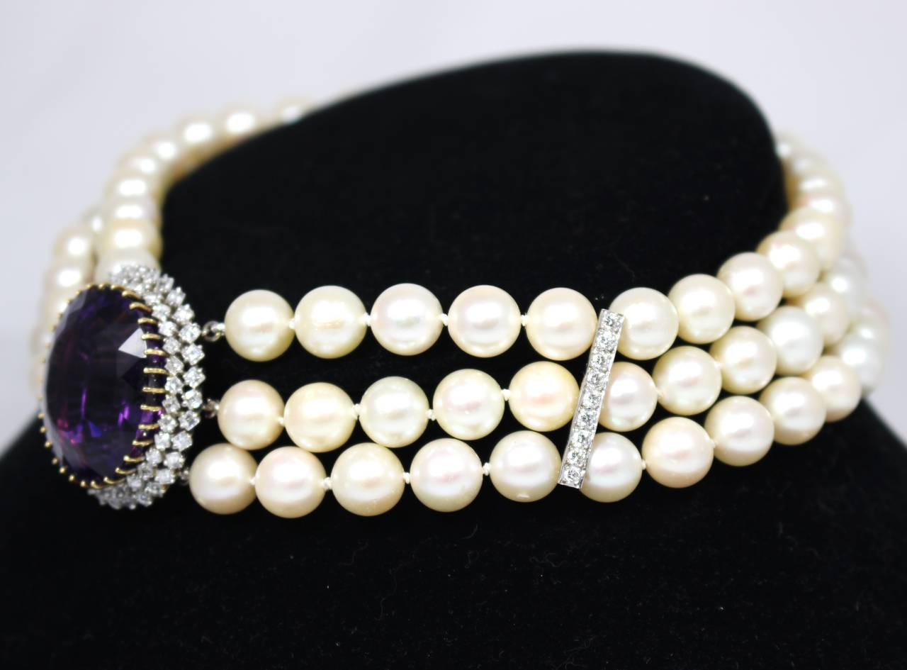 Amethyst Diamond Triple Strand Pearl Necklace 3