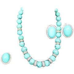 Turquoise Diamond Necklace, Earrings and Cocktail Ring Parure