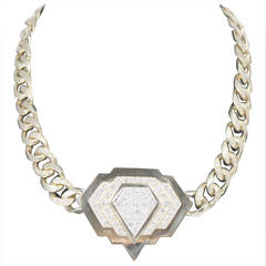 Diamond Gold Motif Link Necklace