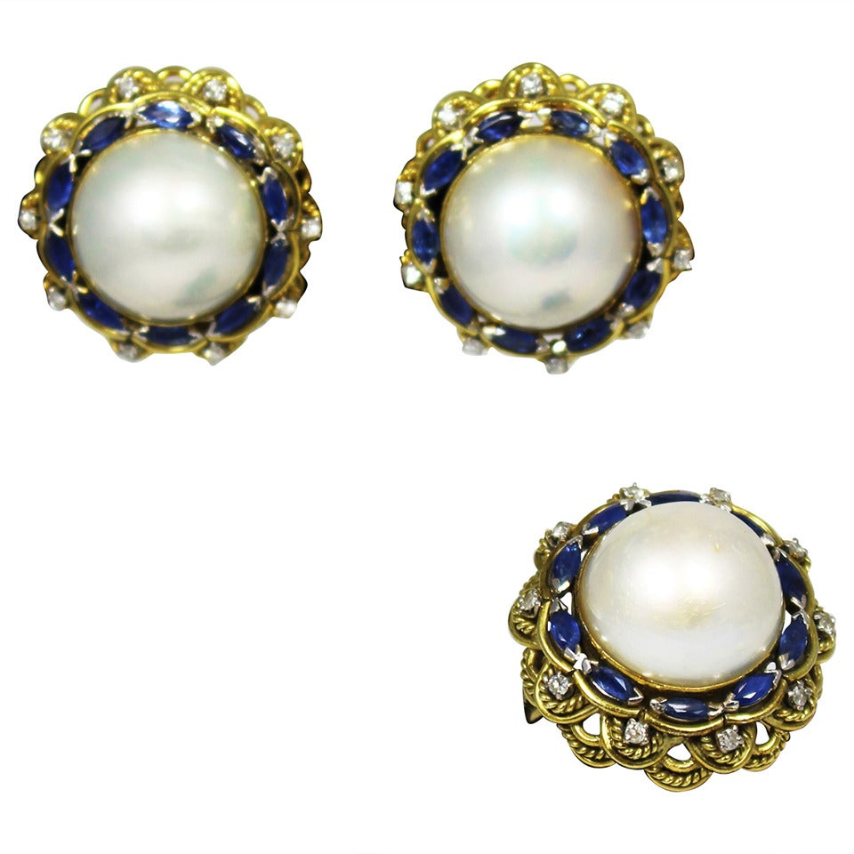 Mabe Pearl Sapphire Diamond Gold Earring and Ring Set