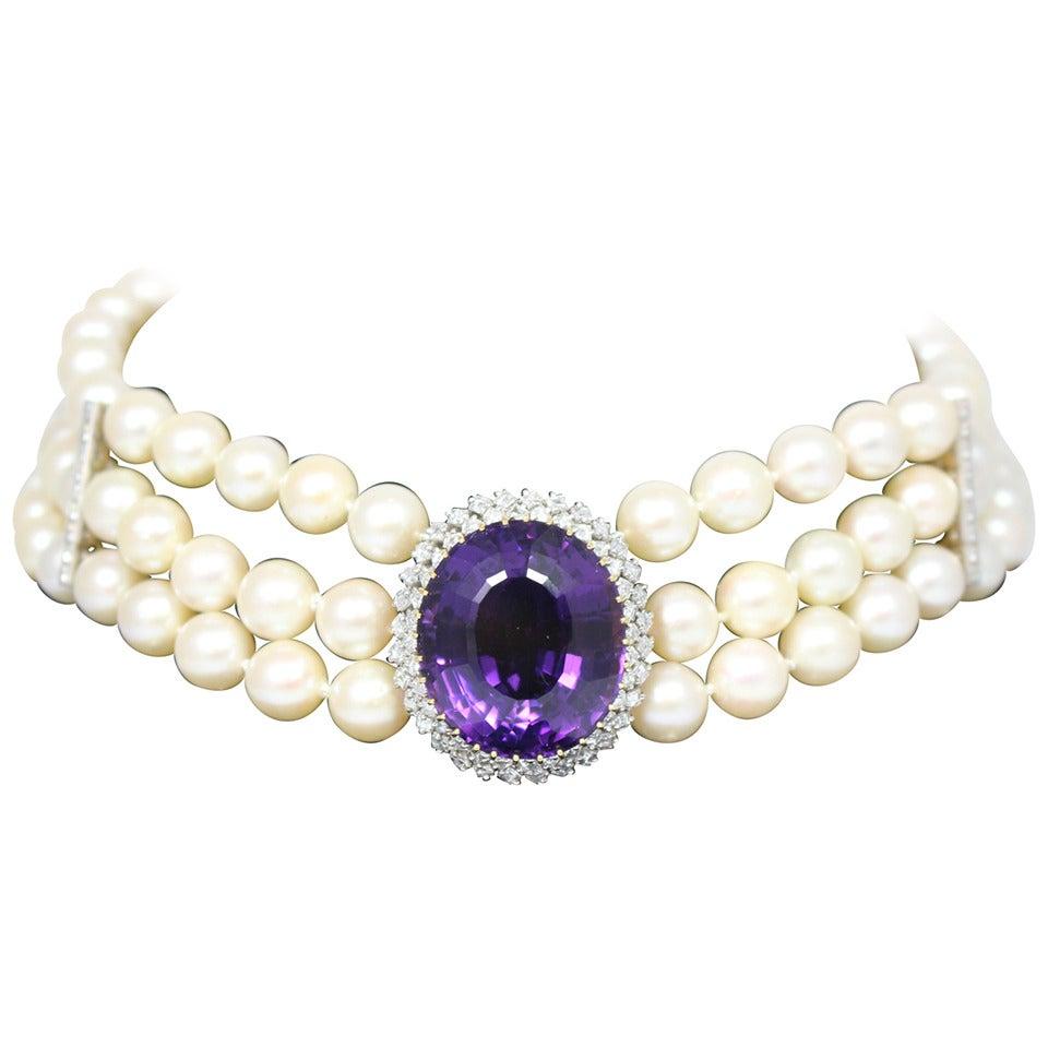 Amethyst Diamond Triple Strand Pearl Necklace 1