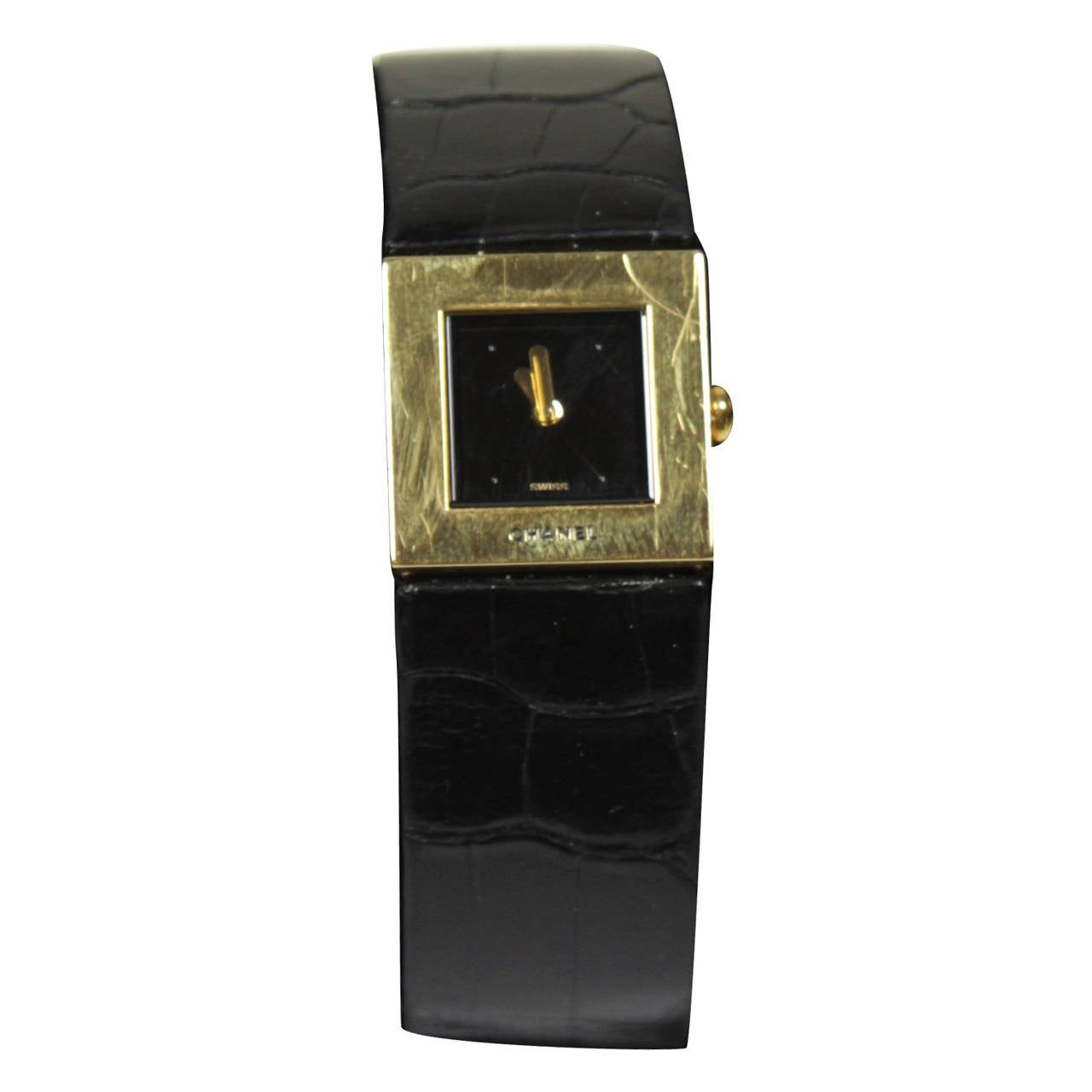 Chanel Lady's 18KT Yellow Gold Alligator Band Wristwatch Circa 1993