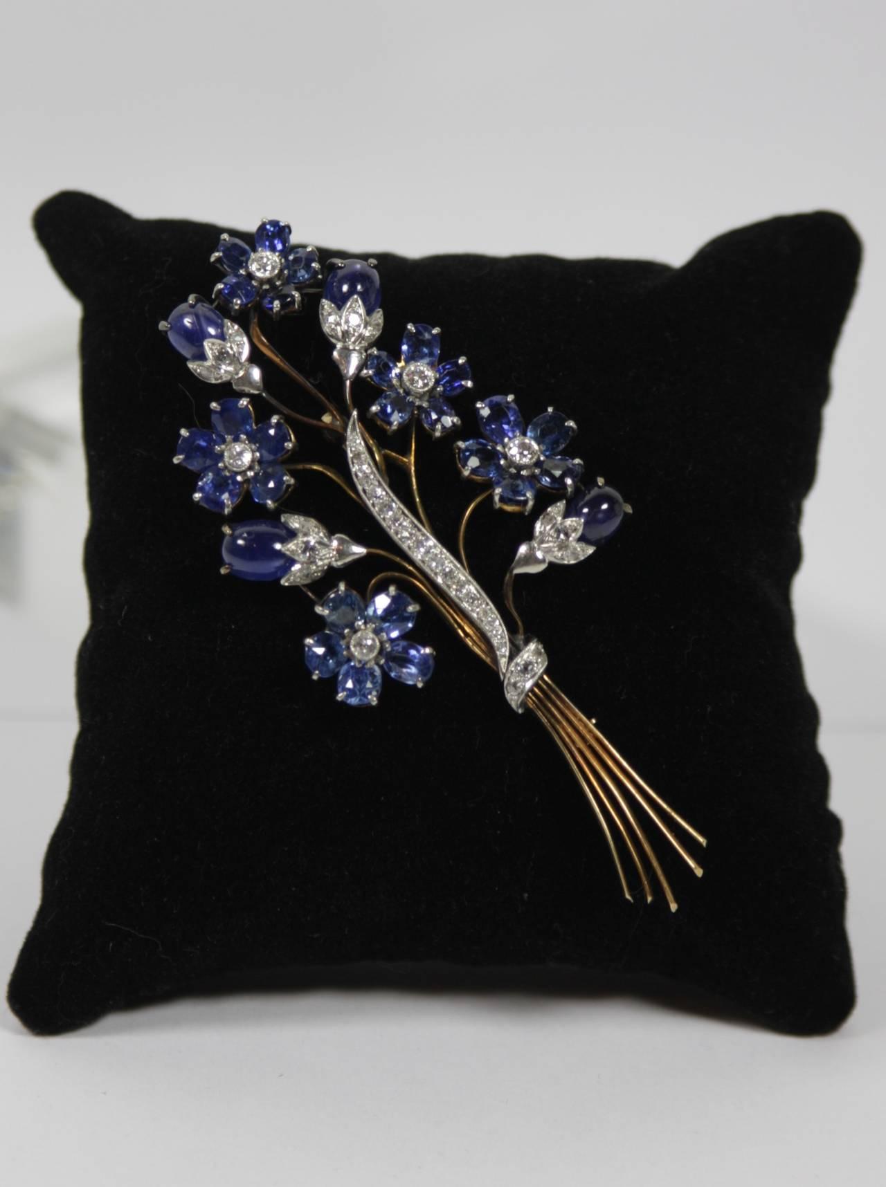1940s Sapphire Diamond Gold Platinum Floral Brooch 2