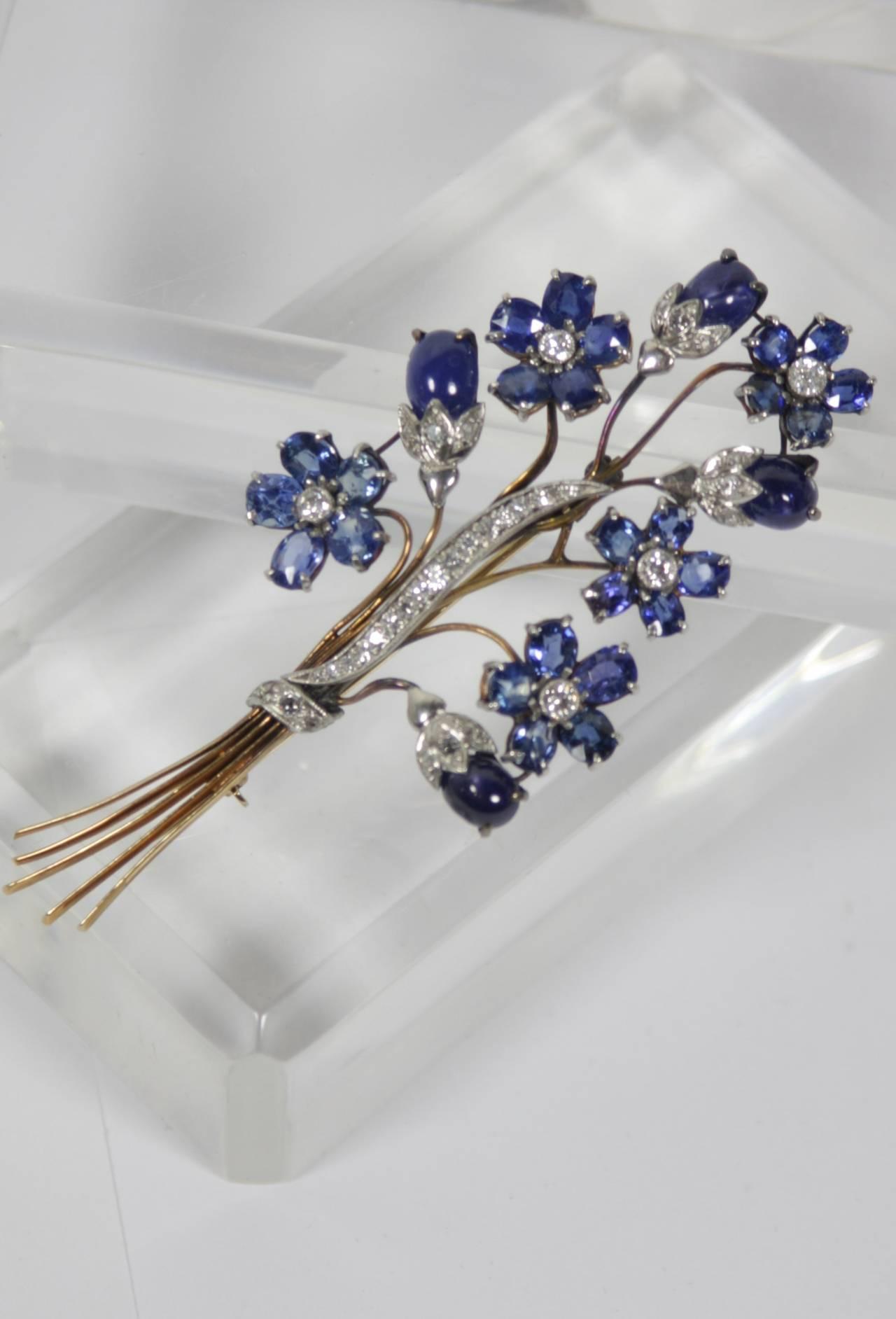 1940s Sapphire Diamond Gold Platinum Floral Brooch 4