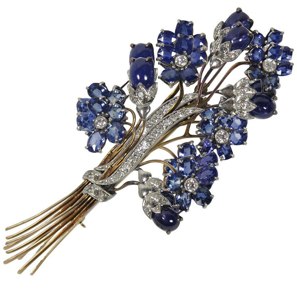 1940s Sapphire Diamond Gold Platinum Floral Brooch 1