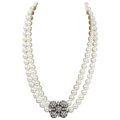 Akoya Cultured Pearl Long Double Strand Necklace with Diamond Clasp