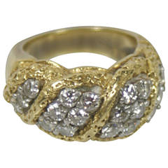 Brilliant Cut Diamond Textured Gold Ring