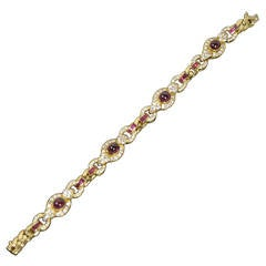 Cabochon and Calibre Cut Ruby Diamond Gold Bracelet