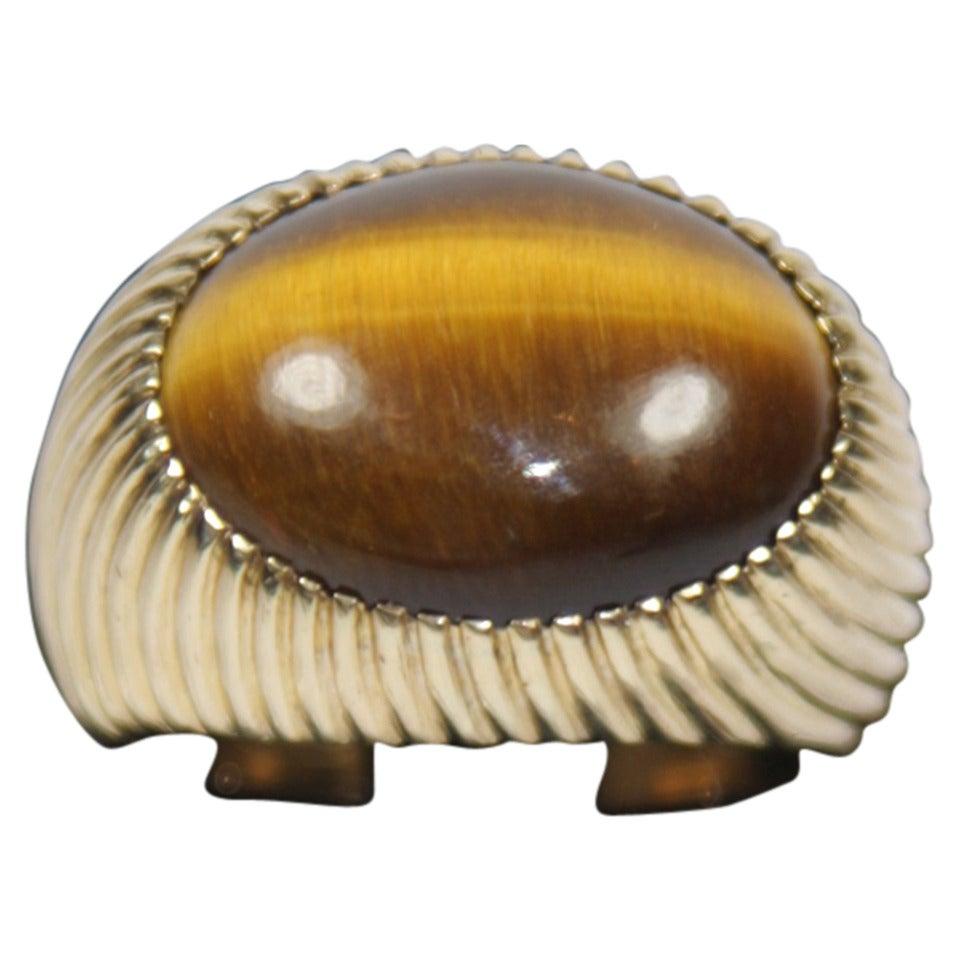 Tiger's Eye Quartz Gold Ring