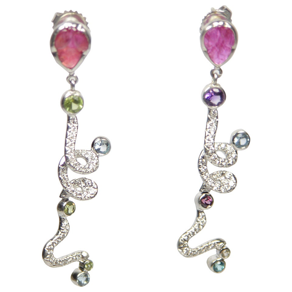 Multi Gemstone Ruby Diamond Gold Dangle Earrings