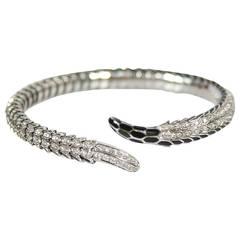 Roberto Coin Diamond Pave Gold Snake Wrap Cuff Bracelet
