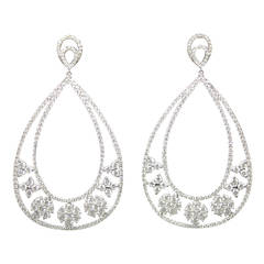 Diamond Gold Floral Pendant Drop Earrings