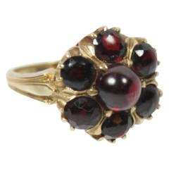 Gold 7 Cabochon Garnet Cluster Ring