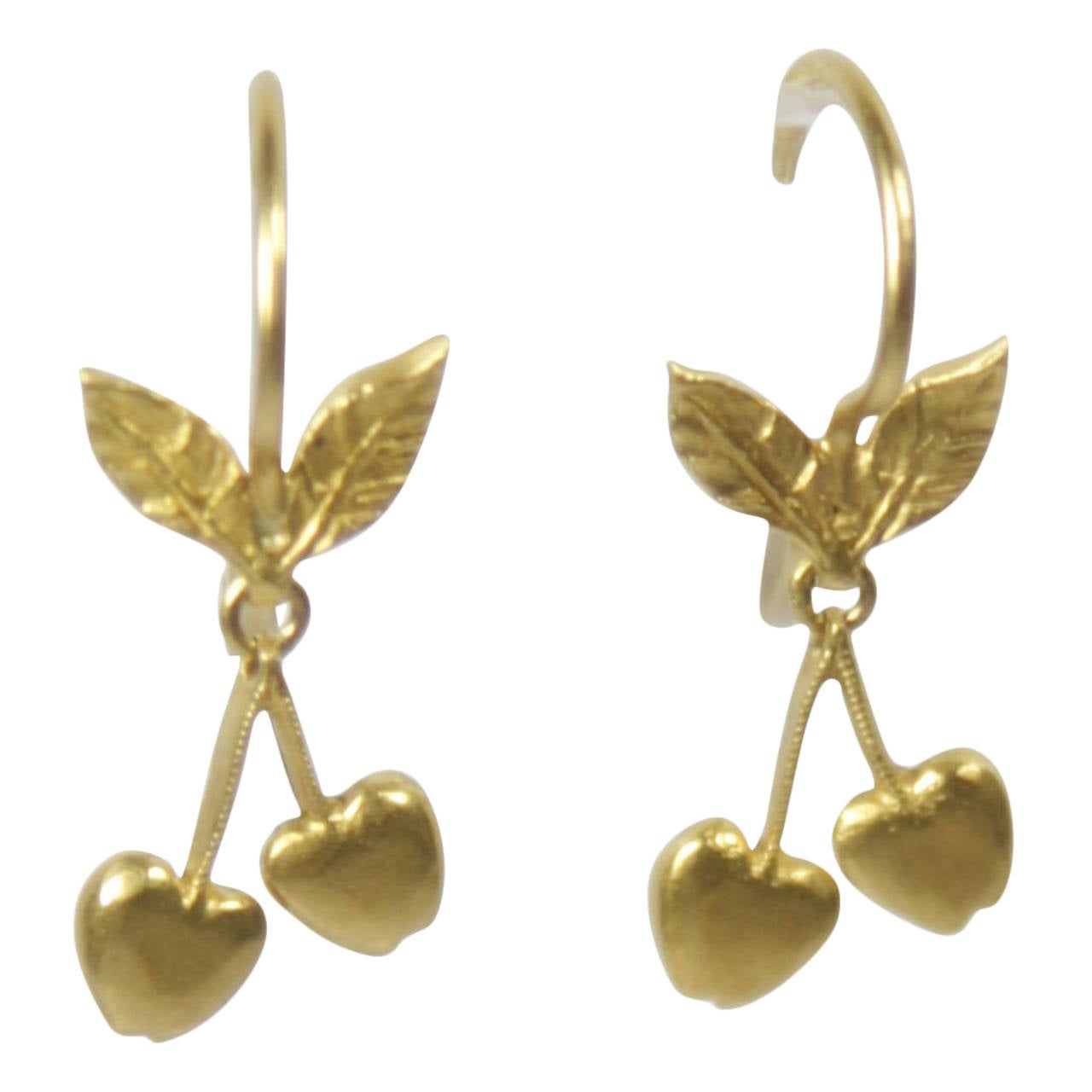 Cathy Waterman Gold Cherry Earrings At 1stdibs