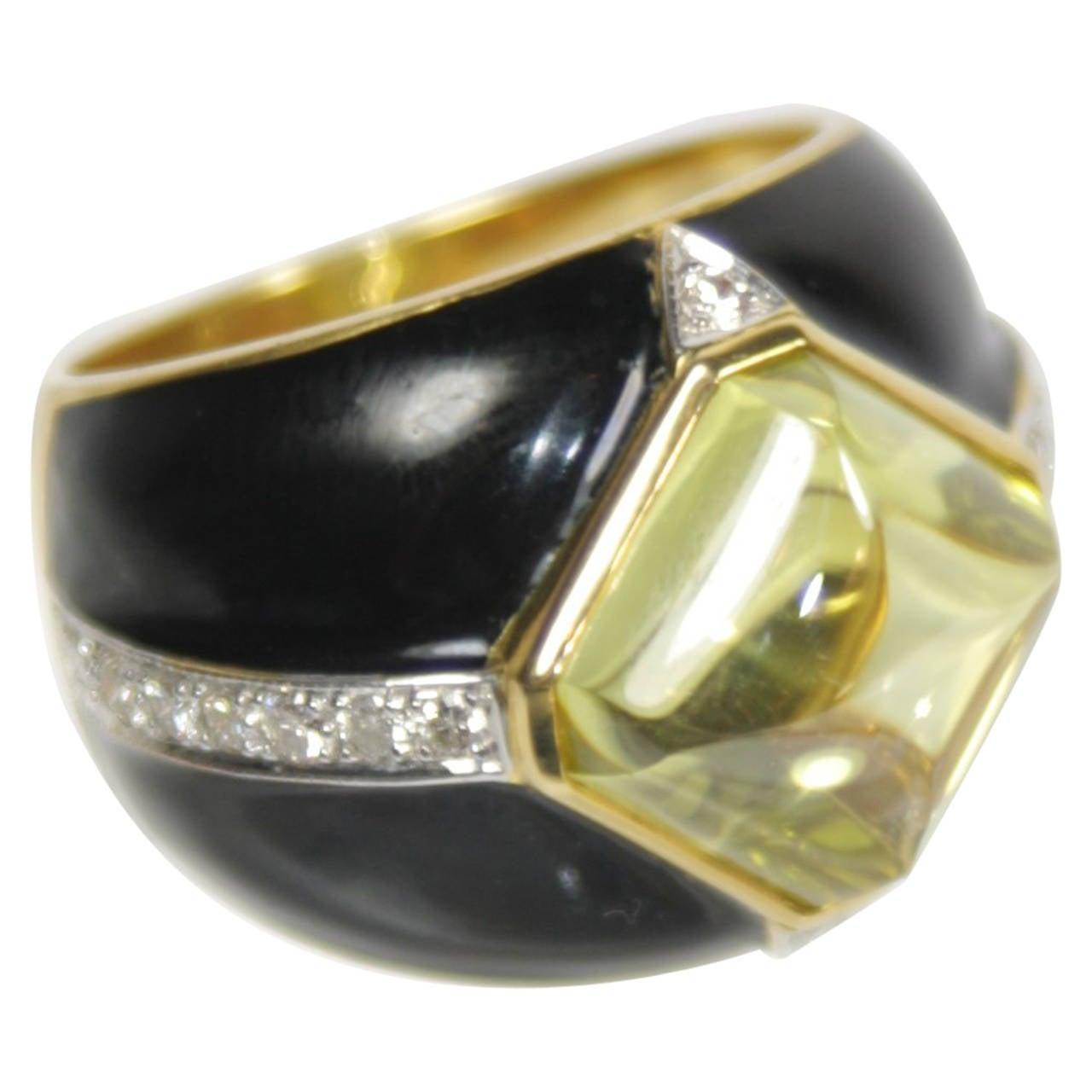 Black Enamel Yellow CZ Diamond Gold Ring For Sale at 1stdibs