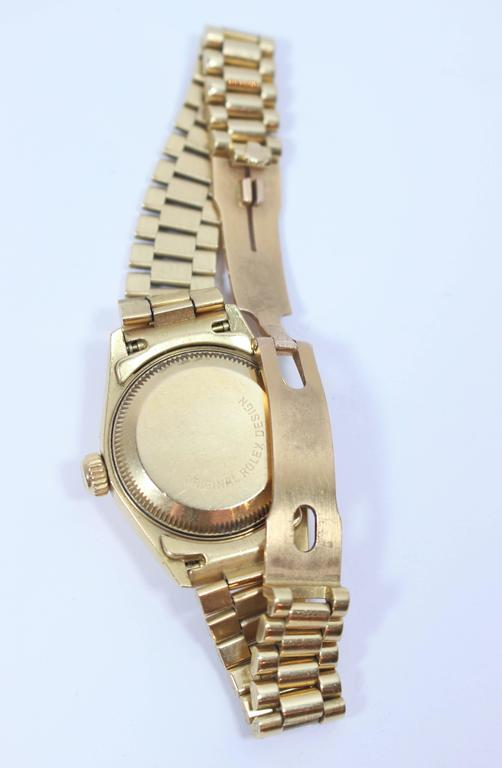 Women's Rolex Ladies Yellow Gold Diamond President Automatic Wristwatch Model 69178 For Sale