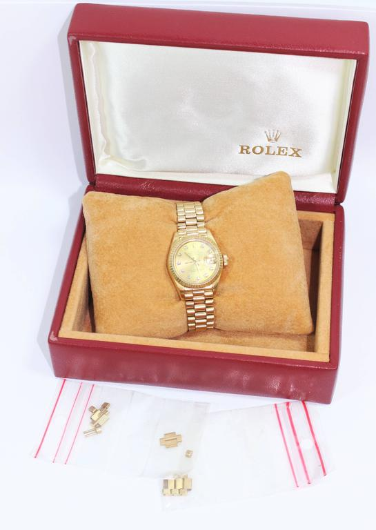 Rolex Ladies Yellow Gold Diamond President Automatic Wristwatch Model 69178 For Sale 1