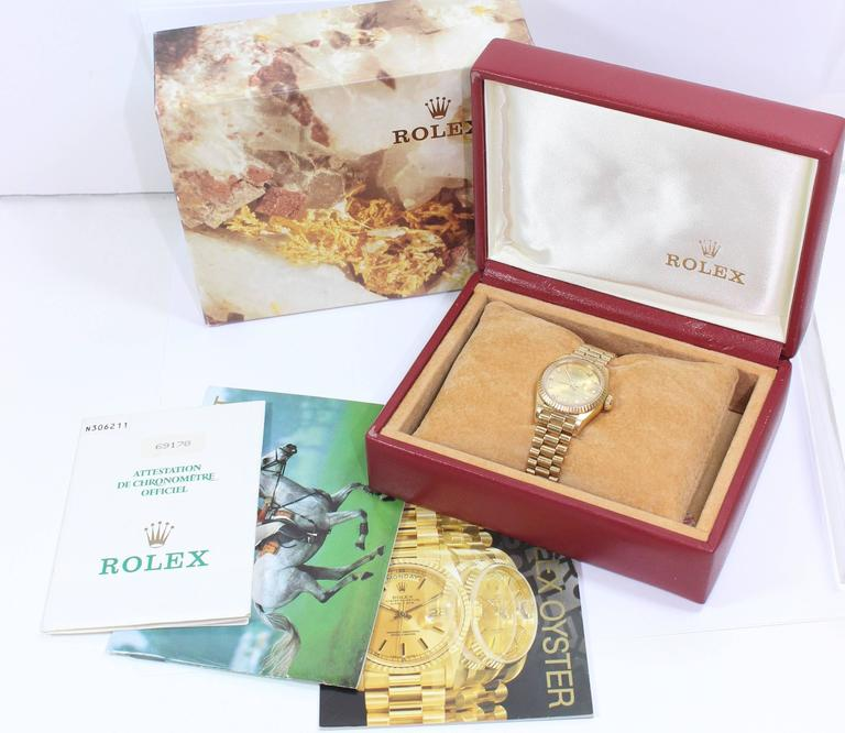 Rolex Ladies Yellow Gold Diamond President Automatic Wristwatch Model 69178 For Sale 2
