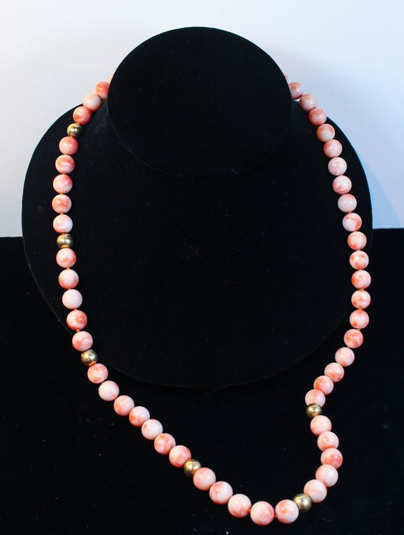 Angel Skin Coral Large Gold Bead Necklace In Excellent Condition For Sale In Los Angeles, CA